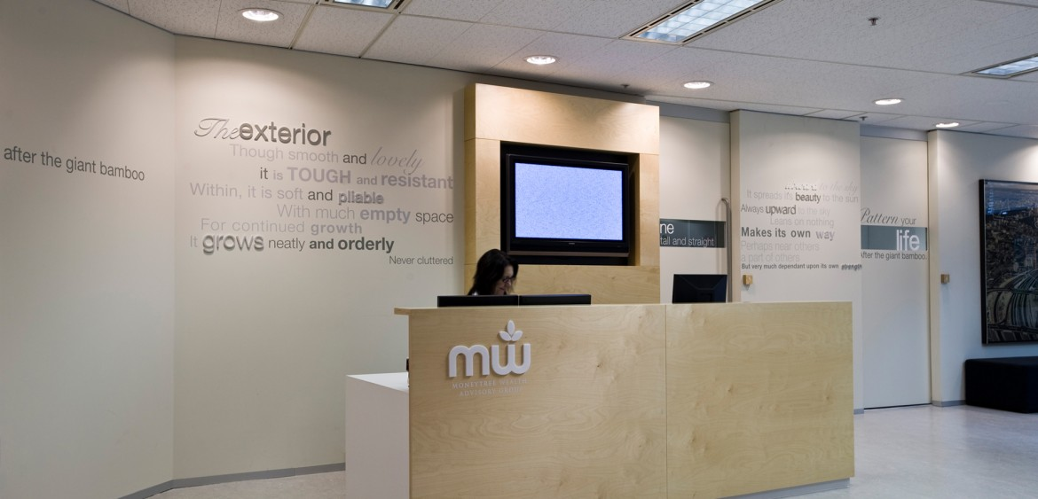 Reception area at Moneytree Offices