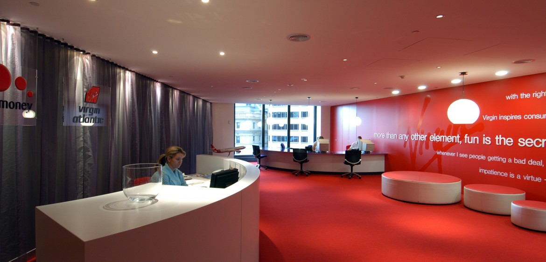the Virgin Office reception area