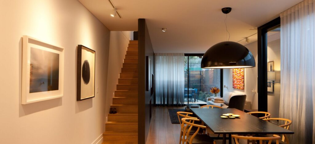 dining area and stairs - interior design process