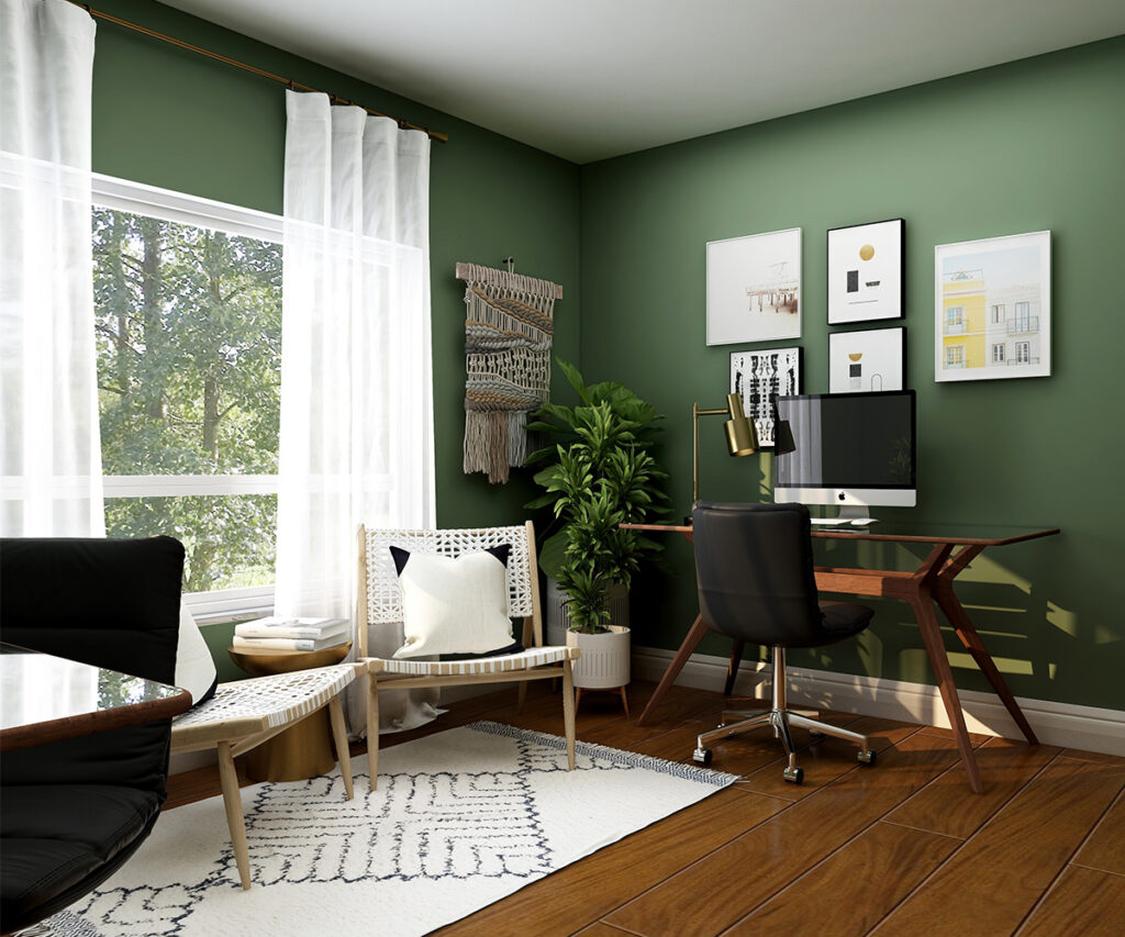 a bright green room in which to create a home office along with a lounge area