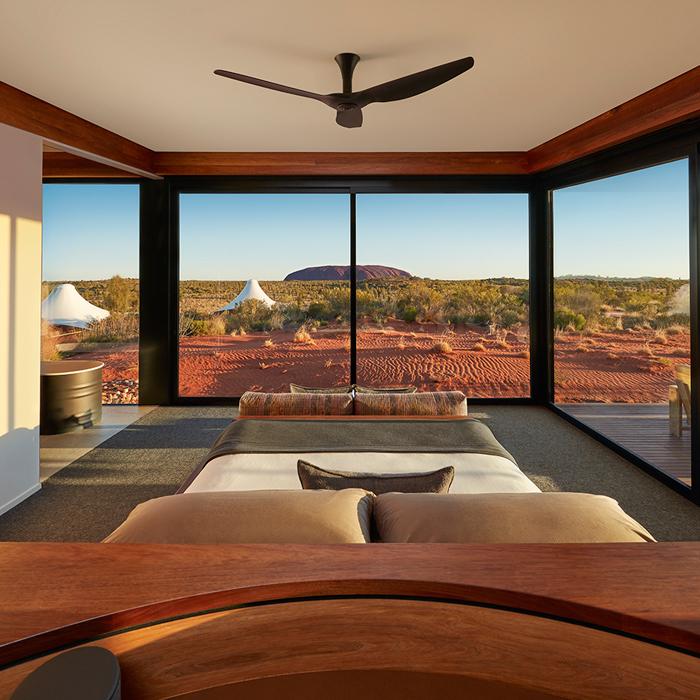 LONGITUDE 131 Bedroom design in neutral colours by Bemboka, overlooking Uluru