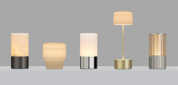 Voltra Lighting range of lamps on a grey background